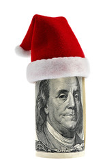 A hundred dollar roll in Christmas Santa hat
