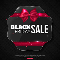 Black friday sale background with shining glass frame,