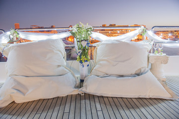 Pair of cushions on a boat