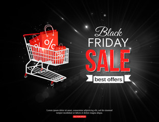 Black friday sale shining background with photorealistic