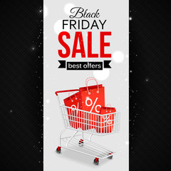Black friday sale background with photorealistic shopping cart