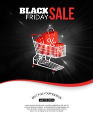 Black friday sale shining background with photorealistic