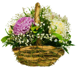 Basket of chrysanthemums and roses