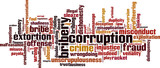 Corruption word cloud concept. Vector illustration poster