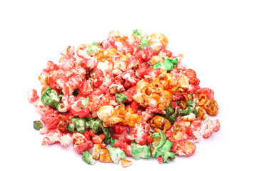 Colorful sugared popcorn