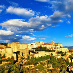 medieval Gordes on sunset , Provence. France