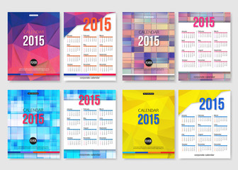 Set of calendar template brochure geometric design. Modern back