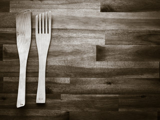 Wooden fork and spatula