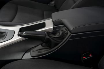 Car hand brake. Interior detail.