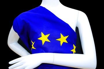 EU Einheits Kleid an Schaufenster Puppe, Unionskleid, Brustbild