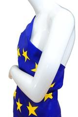EU Einheits Kleid an Schaufenster Puppe, weiss, seitlich