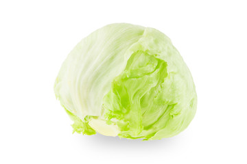 Iceberg lettuce on a white background