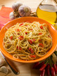 spaghetti with garlic oil and hot chili pepper