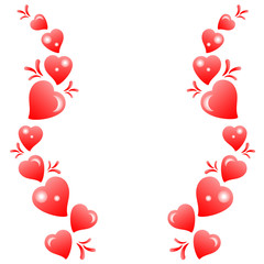 Pattern of hearts on a white background