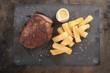 cooked beef steak on platter - 72281208