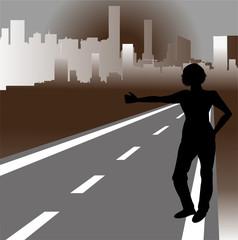 silhouette di autostoppista e metropoli sullo sfondo
