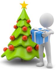 Männchen mit Geschenk und Weihnachtsbaum