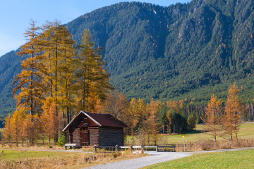 Mountain Landscape with Old Wooden Hut