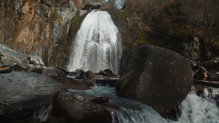 The Korbu waterfall in mountains of Altay Republic