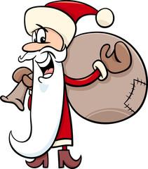 santa with sack cartoon illustration
