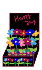 Caja con flores y happy day.