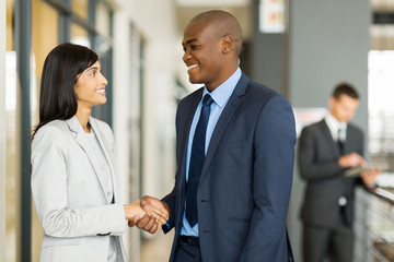 indian businesswoman handshaking with african businessman