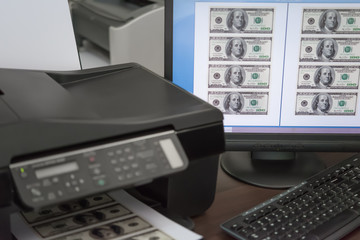 printing fake USD paper currency illegally