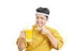 canvas print picture - ビールを持つ笑顔のウェイター