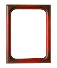 Vertical Red Wooden Photo Frame isolated on white background