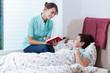 Helpful nurse reading book