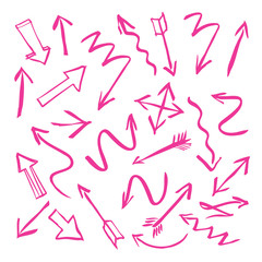 set of pink vector arrows