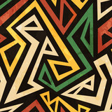 Fototapety african geometric seamless pattern with grunge effect