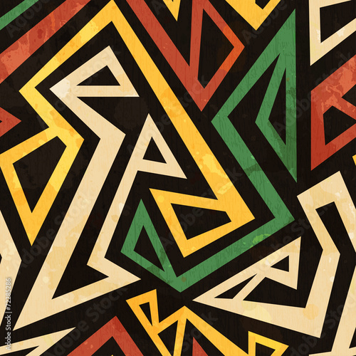 Cotton fabric african geometric seamless pattern with grunge effect