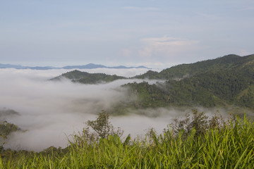Thick fog in the valley, Thailand