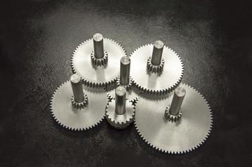 Steel gears in steel black background