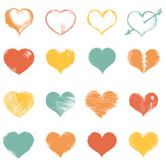 Vector Set of Sketch Hearts