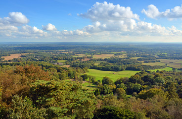 Panoramic View from Leith Hill across the South Downs to Brighto