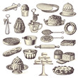 large collection of vintage bakery design elements - 72286419