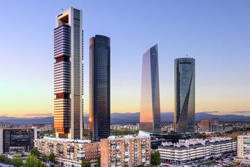 Madrid, Spain Financial District at Cuatro Torres