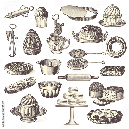 large collection of vintage bakery design elements