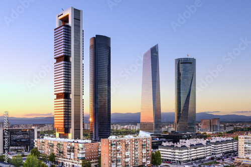 Staande foto Mediterraans Europa Madrid, Spain Financial District at Cuatro Torres