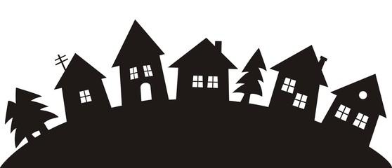 village, black illustration