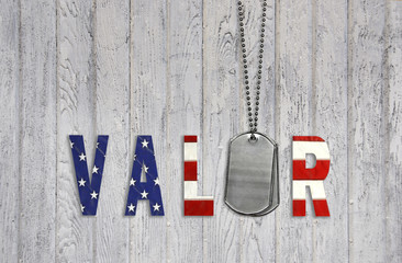 military dog tags with flag valor on wood