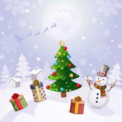 Christmas illustration with snowman and Christmas tree.