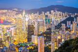 Aerial Hong Kong Skyline at dusk