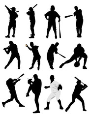 Big set of black and white of baseball player silhouettes. Vecto