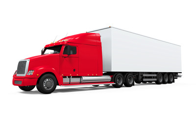 Red Cargo Delivery Truck