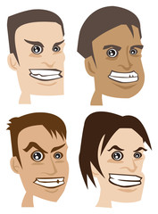 Menacing Expressions on Mens Face Vector Illustration