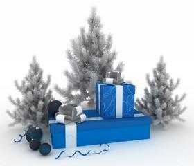 Christmas balls, christmas trees and gift boxes on white