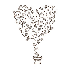 Heart with leaves and flowers growing in a pot.